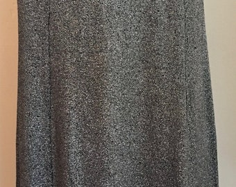1960's/1970's Vintage Black and Silver Lamé Jersey High Waist Maxi Skirt/Black and Metallic Skirt