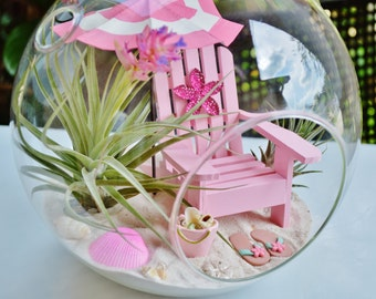 """Beach Terrarium  Kit ~ 8"""" Air Plant Terrarium Kit ~ Coastal Living Beach Decor ~ Pretty in Pink ~ Beach Umbrella ~ Adirondack Chair ~ Gift"""