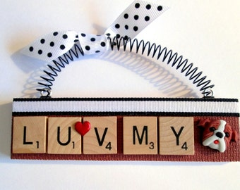 Love my Bulldog Scrabble Tile Ornament
