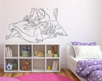 Wall Sticker Decals Alice In Wonderland Cartoon Rabbit Tea Time Cheshire Cat Girl Nursery Bedroom 1367b