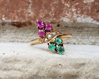 Antique Victorian Emerald and Ruby Ring in Rose Gold with Marquise Navette Bypass Design