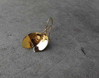 Brass earrings, gold leaf, handmade earrings.