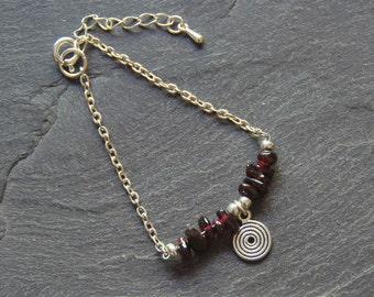 Silver Garnet Bracelet, January Birthstone Bracelet, Gemstone Jewelry, January Birthday Gift, Gifts for Her, Beaded Charm Bracelet, 1158-1