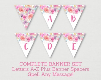 Floral Baby Shower Banner / Floral Baby Shower / Watercolor Floral / Pink Floral / Letters A-Z / DIY Pennant Banner INSTANT DOWNLOAD A159