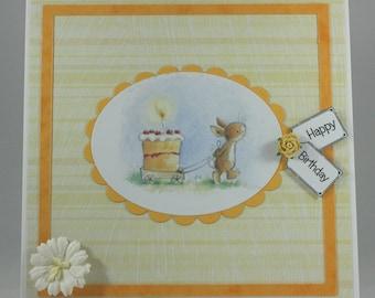 Handmade birthday card - bunny with birthday cake
