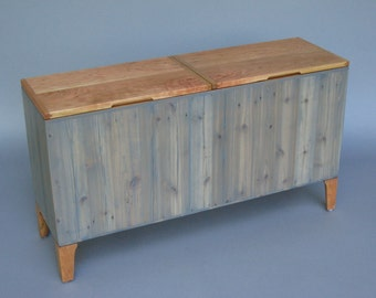 reclaimed wood storage chest/bench