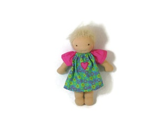 7 to 8 inch Waldorf Doll Dress, blue, green, pink flowers with flutter sleeves doll dress,  tiny doll dress