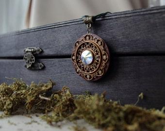 Ethnic mandala pendant, ethnic pendant Swarovski, filigree polymer clay jewelry, polymer clay ornament pendant, mandala boho jewelry