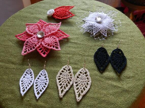 4 in 1 häkeln Blatt Muster Ohrringe, Blumenkopfschmuck, kleine Kopfschmuck/Brosche und Kopfschmuck
