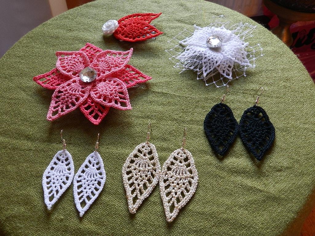 4 in 1 crochet leaf pattern Earrings Flower headpiece little