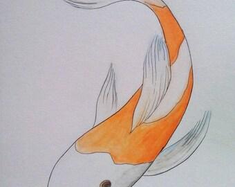 Watercolor Painting Koi Carp Fish