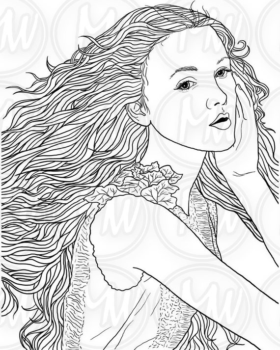 adult coloring page woman face long hair illustration beautiful printable digital stamp black and white instant download 012 - Coloring Page Woman