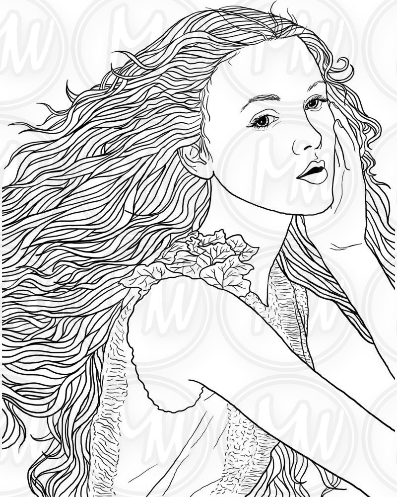 coloring pages of ladies | Adult Coloring Page Woman Face Long Hair Illustration