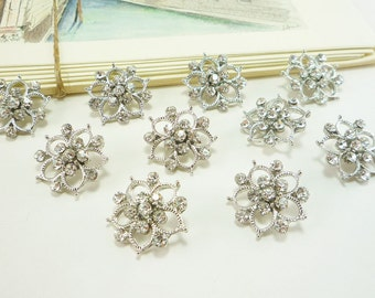 Crystal Flower Rhinestone Button, Silver metal button, Clear Crystal button (20mm, 10 pcs)