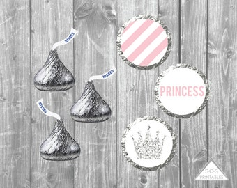 Pink and Silver Princess Hershey Kisses Labels, Glitter Princess Kiss Stickers, Printable Kiss Labels, Princess Birthday Party, Baby Shower