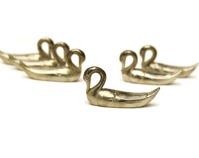 Swan Knife Rests. Set of French Vintage Silver Plate Swan Figurines. Figural Cutlery Rest.