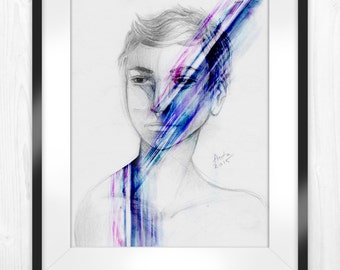 """Printable Portrait Art Illustration, Abstract Wall Art, Smudged Drip Paint, 8""""x10"""" and 20""""x25"""""""