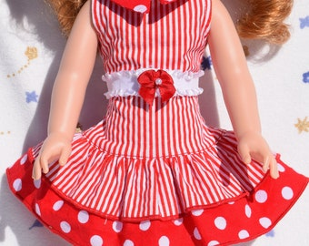 Cute red and white dress in strips and polka dots with white elastic belt fits 14.5 inch dolls