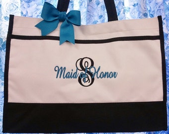 Set of 4 Bridesmaid Tote Bags Personalized Gifts Bridesmaids Bags Wedding Tote Bag Monogrammed Gifts