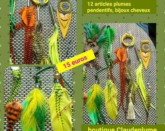 Set of 12 items hair feather pendants