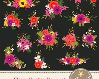 50% OFF Flower Bouquet Clipart, Bright Wedding Flowers, Flower Bunches, Floral Arrangement for digital Scrapbooking, Wedding, Birthday Invit