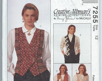 McCall's 7255 Misses' Lined Vest - Size 12 - Uncut Vintage Pattern