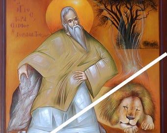 Saint Gerasimus of the Jordan, orthodox icon, original hagiography, hand painted on request, Икона, Άγιος Γεράσιμος ο Ιορδανίτης handpainted