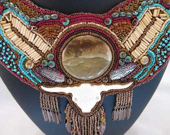 Necklace-Bib style-bead embroidered-neck piece-picture jasper cabochon-bone skull-embroidered-turquoise-seed beads-southwestern style