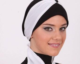 Turban headwrap with Foulard-Black turban, fashion turban cap,Black Turban with Pleated Scarf -Turban Headband -  Black Turban Hat