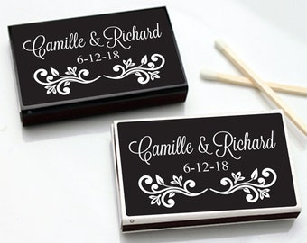 50 pcs Black with White Scroll Personalized Matchboxes  (MIC-FJM54645-5)