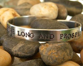 Live Long And Prosper - Aluminum Hand stamped bracelet