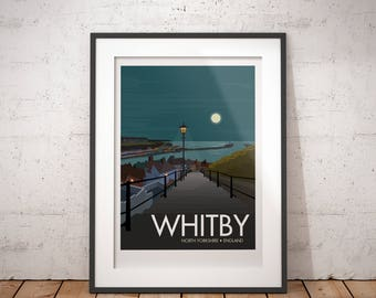 Whitby, North Yorkshire, England, UK - signed travel poster print