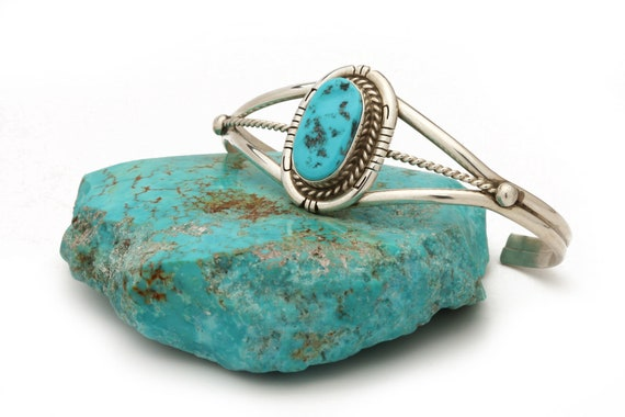 BRAND NEW! Genuine Natural Navajo Handmade Turquoise & Sterling Silver Bracelet Native American jewelry, bohemian beach wedding.
