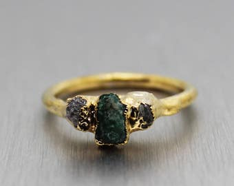 emerald ring, diamond ring, raw emerald, raw diamond, gold ring, stacking ring, stackable ring, gifts for her, raw gem jewelry