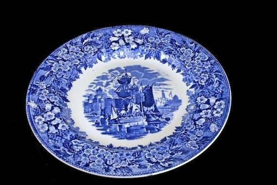 Antique Dinner Plate, Wedgwood Ferrara, Blue Transferware, Blue Flowers, Ships and Buildings