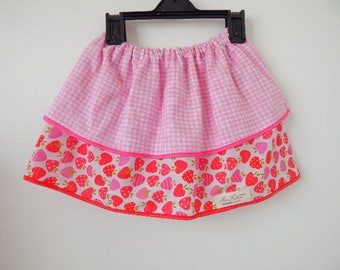 2-3yrs girl's cotton skirt with strawberries, pink skirt, double layer.
