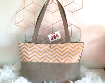 Personalized Tote in natural linen, graphic theme blush and gold