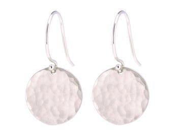 14K White Gold Hammered disc earrings, Solid 14K White Gold Earrings, 14K Gold Disc Earrings, Textured Disc Earrings, Gift for Her