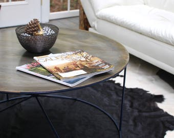 Round Patina Metal Coffee Table, Patina, Coffee Table, Living Room Furniture, Modern Furniture, Urban Loft, Industrial Table - FREE Ship