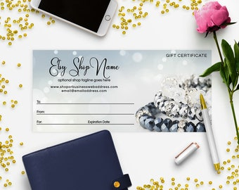 Gift Certificate Printable - Gift Certificate Download - Printable Gift Certificate   Gift Certificate Design - Jewelry 8