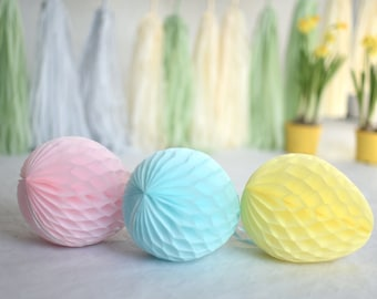 Honeycomb easter egg decorations /  Easter decoration / easter table decorations | spring Decor | paper eggs |table decorations