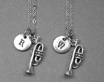 Best friend necklace, trumpet necklace, trumpet charm, instrument, BFF necklace, friendship jewelry, best friend gift, personalized necklace