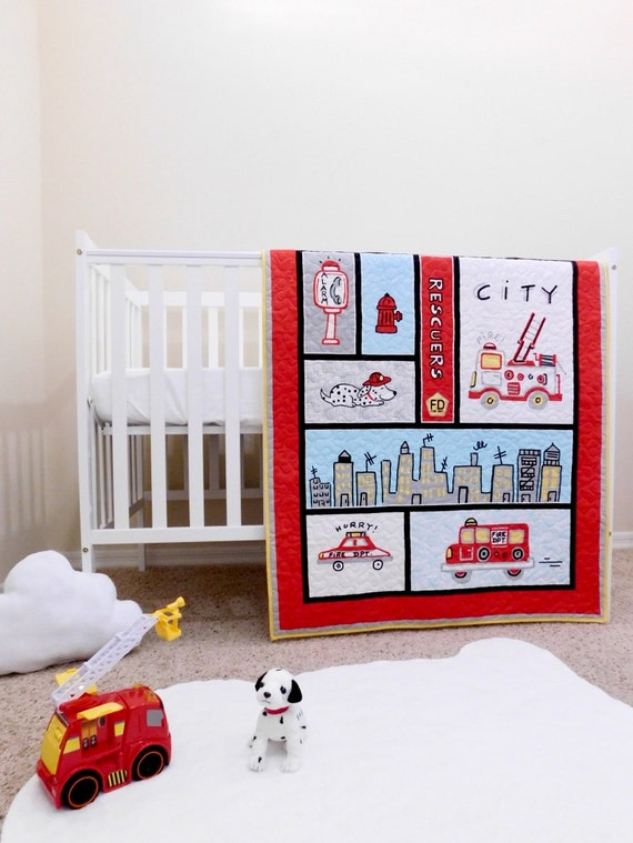 Firefighters Baby Quilt, Fireman Crib Bedding, Firetrucks Quilt, Fire  Rescuers Theme, Firefighters Crib Bedding, Firefighters Nursery.