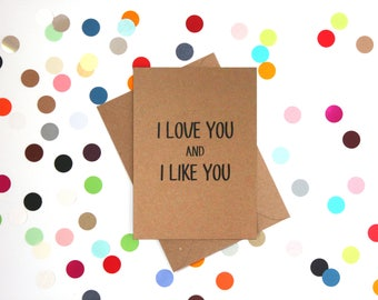 Funny Valentine's day card, Funny Birthday Card, Parks and Recreation card, Funny card, Funny love card: I love you and I like you