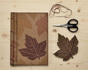 """Handmade notebook with 100% recycled paper, handmade journal, writers journal, ecofriendly gift, """"foglie d'Acero"""""""