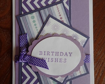 Purple squares birthday card