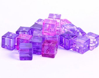 7mm Purple transparent cube resin beads - Shades of purples (360)