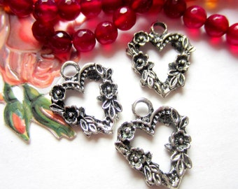12 Heart charms antique silver floral heart dangle double sided diy jewelry supply wine glass charms 16mm x 14mm  A15330 DD2