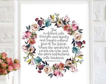 She is clothed with strength and dignity printable Nursery Bible verse print Proverbs 31 25 Scripture nursery art Christian wall art decor