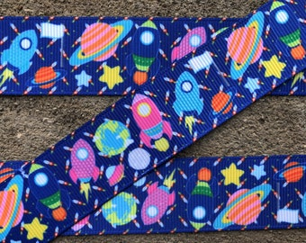 """3 yards Colorful Space Ship Martians Aliens Outer Space Grosgrain Ribbon 1"""" Kids Cartoon Hair Bows Ribbons"""